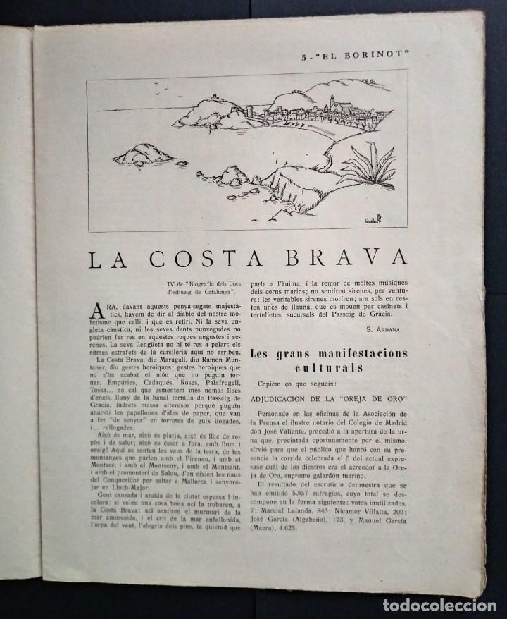 Coleccionismo de Revistas y Periódicos: 1924 EL BORINOT Setmanari d,humor Ángel guimerá, La costa brava, Primer tren Barcelona Mataró - Foto 3 - 115574627