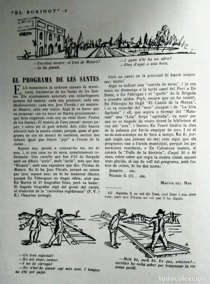 Coleccionismo de Revistas y Periódicos: 1924 EL BORINOT Setmanari d,humor Ángel guimerá, La costa brava, Primer tren Barcelona Mataró - Foto 4 - 115574627
