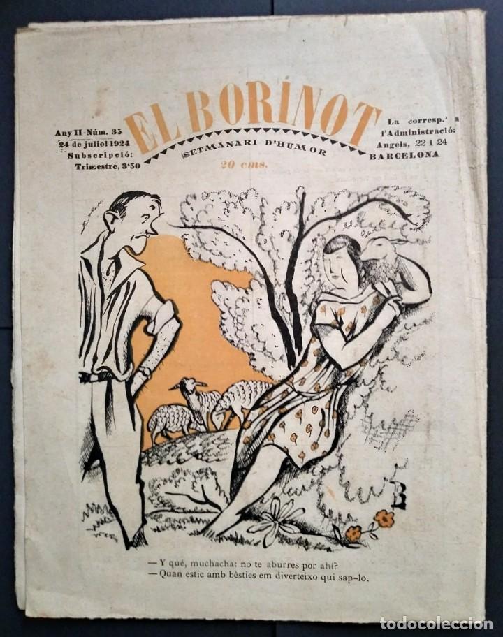 Coleccionismo de Revistas y Periódicos: 1924 EL BORINOT Setmanari d,humor Ángel guimerá, La costa brava, Primer tren Barcelona Mataró - Foto 6 - 115574627
