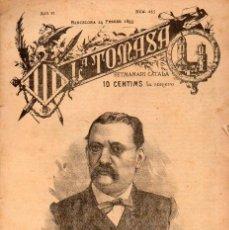 Coleccionismo de Revistas y Periódicos: LA TOMASA SETMANARI CATALÀ Nº 235 (1893) RECORT A JOSEPH A. CLAVÉ. Lote 116231055