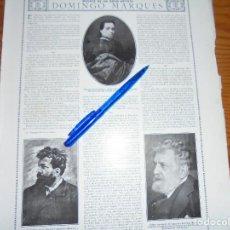 Coleccionismo de Revistas y Periódicos: RECORTE PRENSA : MUERTE DE UN GRAN ARTISTA : FRANCISCO DOMINGO MARQUÉS. LA ESFERA, ABRIL 1920. Lote 116781507
