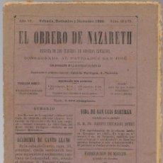 Coleccionismo de Revistas y Periódicos: EL OBRERO DE NAZARETH , REVISTA CIRCULOS OBREROS CATOLICOS, VALENCIA 1890, Nº 69 ... .. Lote 117667127