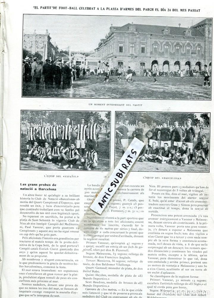 REVISTA AÑO 1910 FUTBOL CLUB BARCELONA F. C. BARÇA CONTRA EL RCD R.C.D. REAL CLUB DEPORTIVO ESPAÑOL (Coleccionismo - Revistas y Periódicos Antiguos (hasta 1.939))