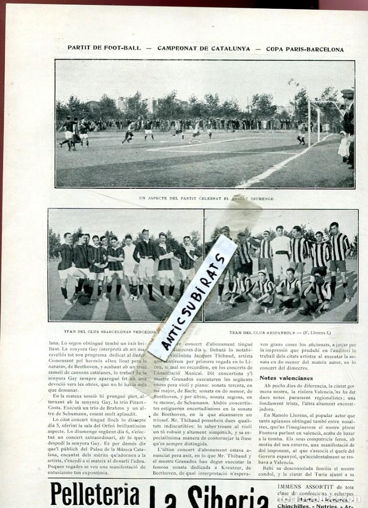 REVISTA AÑO 1910 FUTBOL CLUB BARCELONA F. C. BARÇA CONTRA EL ESPAÑOL COPA CATALUNYA RCD (Coleccionismo - Revistas y Periódicos Antiguos (hasta 1.939))