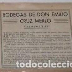 Coleccionismo de Revistas y Periódicos: BODEGAS CRUZ MERLO DE VALDEPEÑAS, CIUDAD REAL, EN 1933RECORTE (R3535) REVISTA BLANCO Y NEGRO ESE AÑO. Lote 117733159