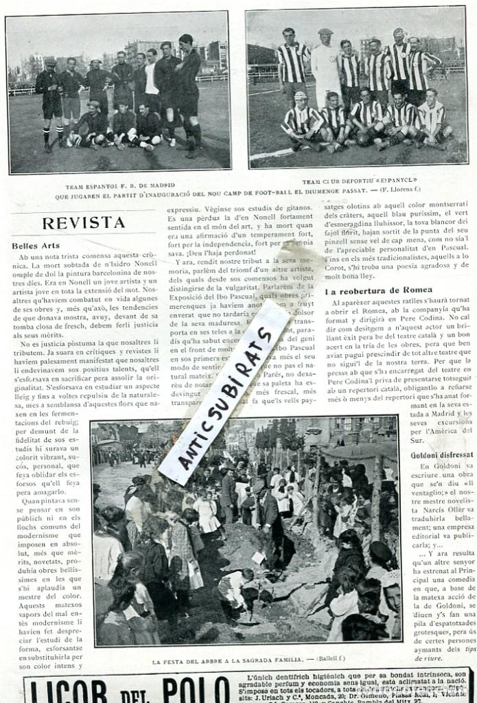 REVISTA AÑO 1911 ESPAÑOL FUTBOL CLUB DE MADRID CONTRA EL CLUB DEPORTIVO ESPAÑOL DE BARCELONA RCD (Coleccionismo - Revistas y Periódicos Antiguos (hasta 1.939))