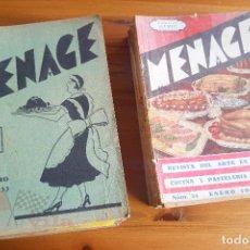 Coleccionismo de Revistas y Periódicos: MENAGE - REVISTAS DE COCINA - 18 EJEMPLARES - 1933 A 1941. Lote 117917543