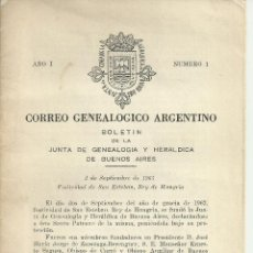 Coleccionismo de Revistas y Periódicos: GENEALOGÍA ARGENTINA, BOLETÍN . REVISTA ESPECIALIZADA,,PRIMER NÚMERO ,Nº I 15 PÁGINAS. 1961. Lote 118211715