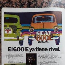 Coleccionismo de Revistas y Periódicos: ANUNCIO SEAT 600 ESPECIAL . Lote 118217175