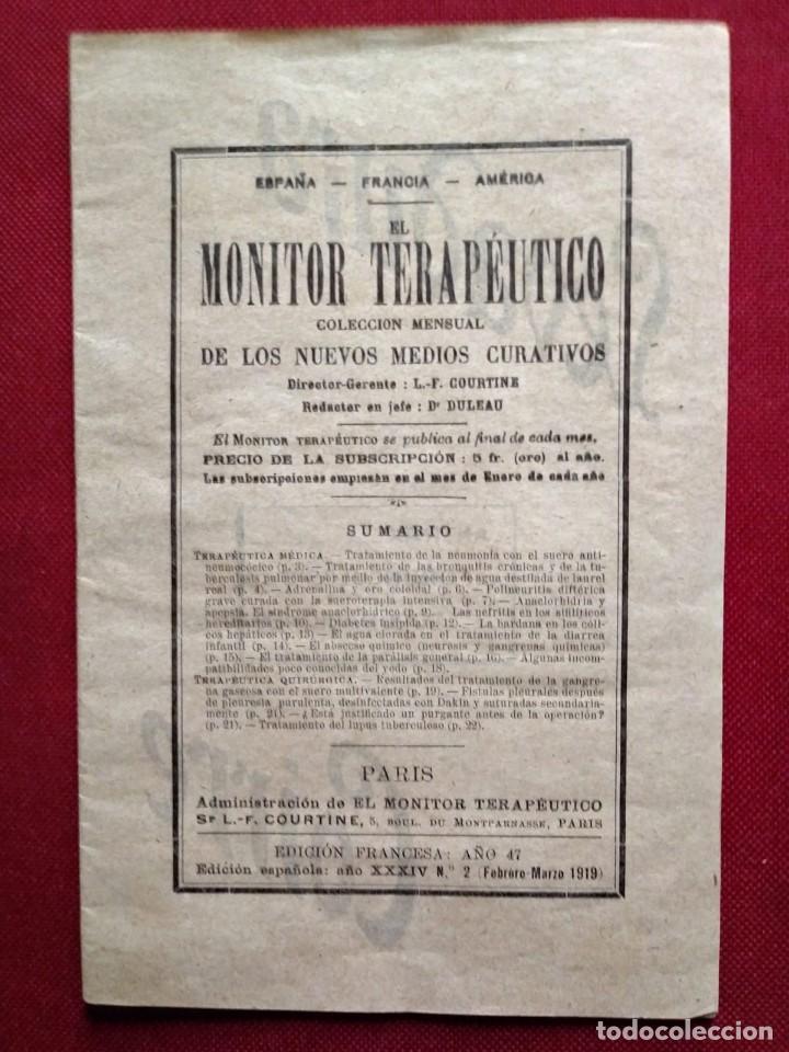 Coleccionismo de Revistas y Periódicos: 1919 EL MONITOR TERAPÉUTICO DE LOS NUEVOS MEDIOS CURATIVOS Nº2 - muy buen estado - MEDICINA - Foto 2 - 118350967