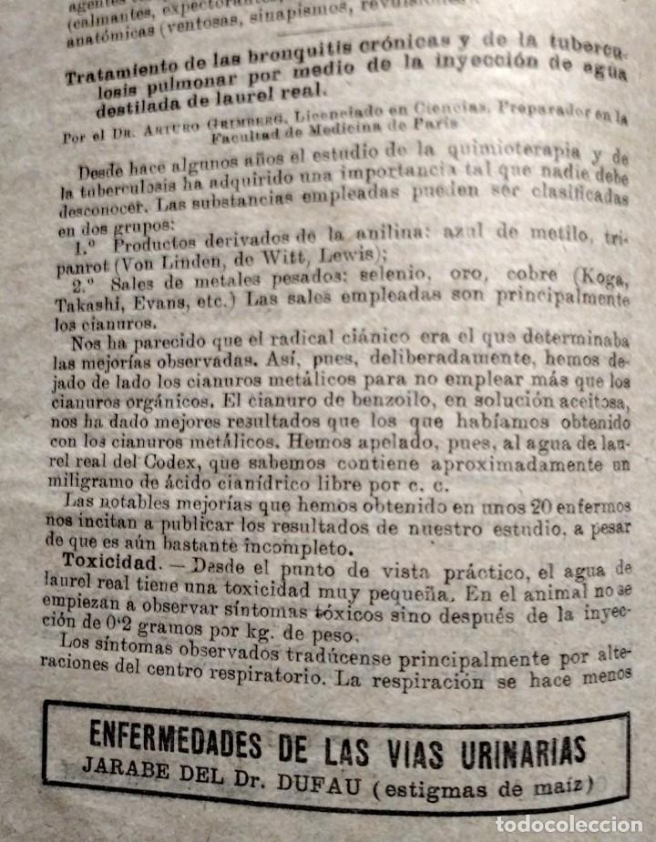 Coleccionismo de Revistas y Periódicos: 1919 EL MONITOR TERAPÉUTICO DE LOS NUEVOS MEDIOS CURATIVOS Nº2 - muy buen estado - MEDICINA - Foto 5 - 118350967