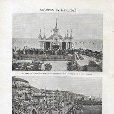 Collectionnisme de Revues et Journaux: 1900 HOJA REVISTA SANTANDER LOS REYES ARCOS EN EL MUELLE PLAYA KIOSKO. Lote 118742623