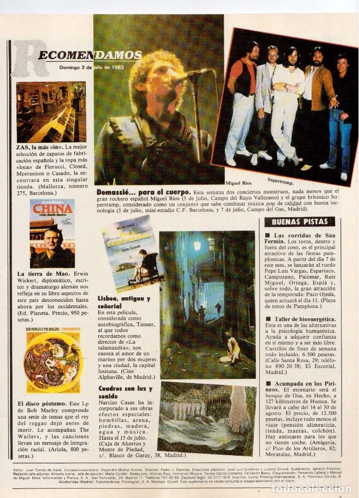 Coleccionismo de Revistas y Periódicos: 1983. LUIS OCAÑA. COLSADA, EL PADRINO. PHOOLAN DEVI. MIGUEL RIOS. SUPERTRAMP. VER SUMARIO ... - Foto 2 - 118744919