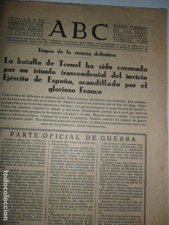 ABC SEVILLA, 8 DE FEBRERO, 1938, LA BATALLA DE TERUEL (Coleccionismo - Revistas y Periódicos Antiguos (hasta 1.939))