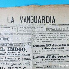 Coleccionismo de Revistas y Periódicos: PERIODICO LA VANGUARDIA AÑO XVIII Nº 5544 BARCELONA OCTUBRE 1898, COMPLEO 4 PAGINAS. Lote 119966719