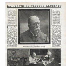 Colecionismo de Revistas e Jornais: 1911 HOJA REVISTA VALENCIA MUERTE DE TEODORO LLORENTE POETA ESCRITOR DIRECTOR DE LA OPINIÓN. Lote 119966747