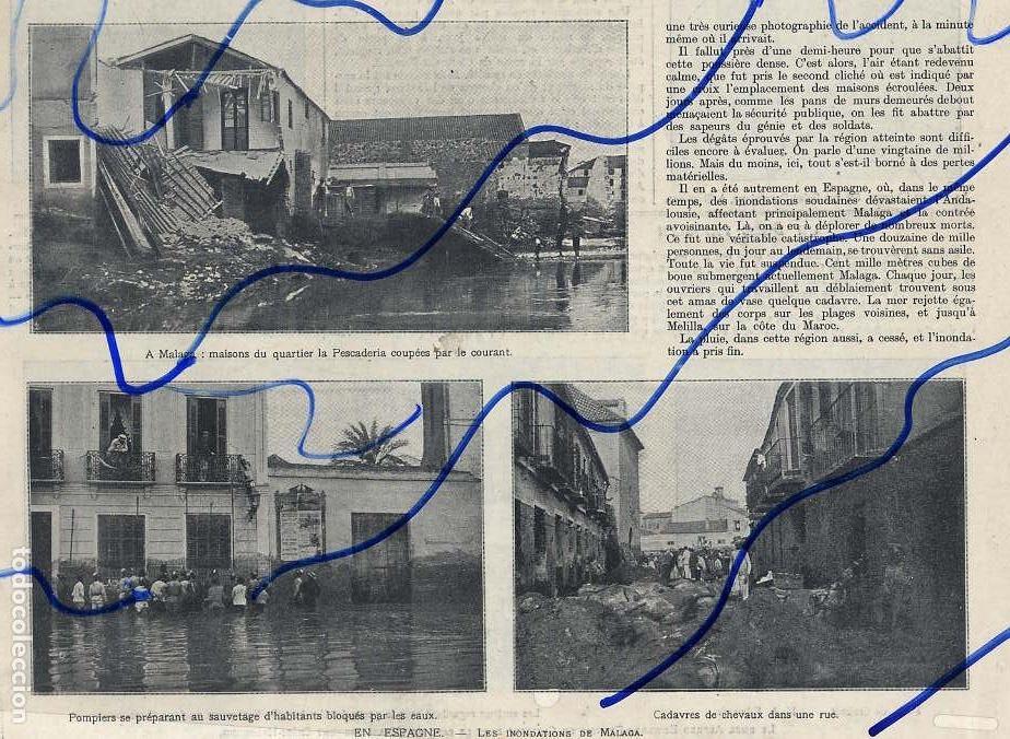 MALAGA 1907 INUNDACIONES HOJA REVISTA (Coleccionismo - Revistas y Periódicos Antiguos (hasta 1.939))