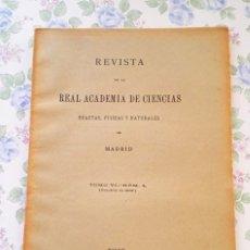 Coleccionismo de Revistas y Periódicos: Nº 4, REVISTA REAL ACADEMIA CIENCIAS, MADRID, 1907. Lote 44260920