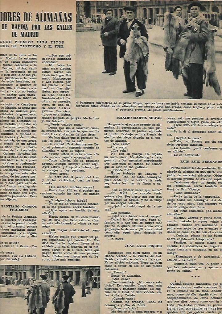 AÑO 1952 CAZA ALIMAÑAS AVES RAPIÑA MADRID CENTRAL ELECTRICA SALIME HOMBRE DE PEKIN BENAVENT COCINA (Coleccionismo - Revistas y Periódicos Modernos (a partir de 1.940) - Otros)