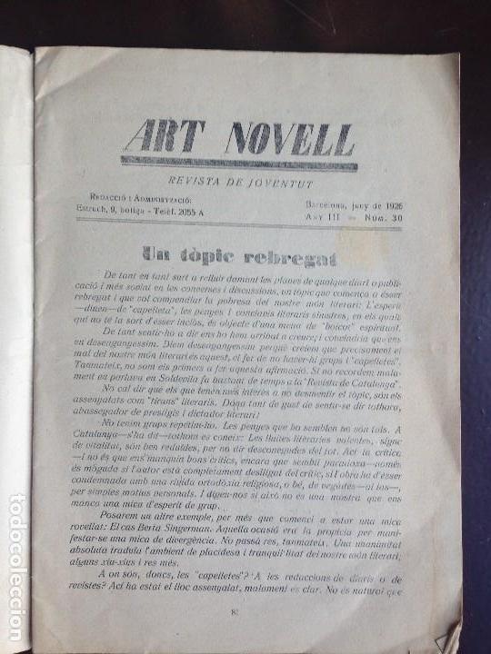 Coleccionismo de Revistas y Periódicos: ART NOVELL - REVISTA DE JOVENTUT- NUMERO 30 - JUNIO 1926 - Foto 3 - 120950303