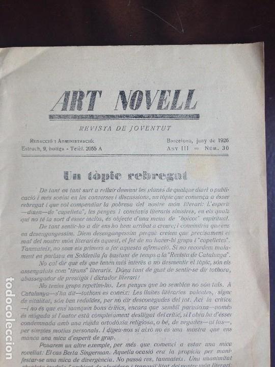 Coleccionismo de Revistas y Periódicos: ART NOVELL - REVISTA DE JOVENTUT- NUMERO 30 - JUNIO 1926 - Foto 4 - 120950303