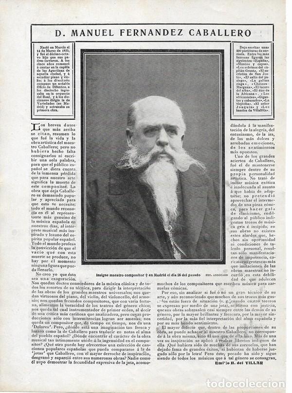 1906 HOJA REVISTA MURCIA MANUEL FERNÁNDEZ CABALLERO AUTOR MAESTRO COMPOSITOR ZARZUELA (Coleccionismo - Revistas y Periódicos Antiguos (hasta 1.939))