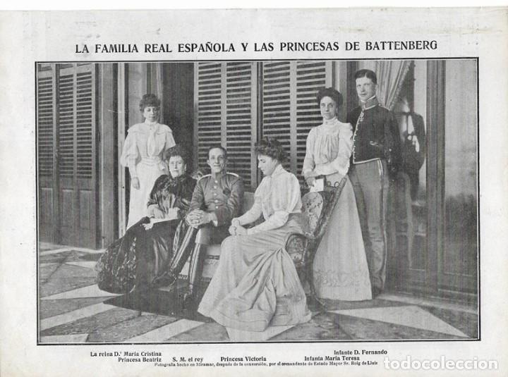1906 HOJA REVISTA SAN SEBASTIAN PALACIO DE MIRAMAR FAMILIA REAL REY ALFONSO XIII REINA PRINCESA ENA (Coleccionismo - Revistas y Periódicos Antiguos (hasta 1.939))