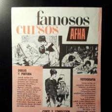 Coleccionismo de Revistas y Periódicos: HOJA PUBLICIDAD. CARA 1: CURSOS AFHA. CARA 2: CAMISA SYNTHRTIC ALEMAN.(READERS DIGEST 1963). Lote 122234923