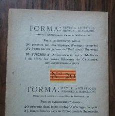 Coleccionismo de Revistas y Periódicos: 1907. FORMA. REVISTA ARTÍSTICA MENSUAL. N. 20. EXPOSICIÓN ARTÍSTICA DE BARCELONA. Lote 122549427