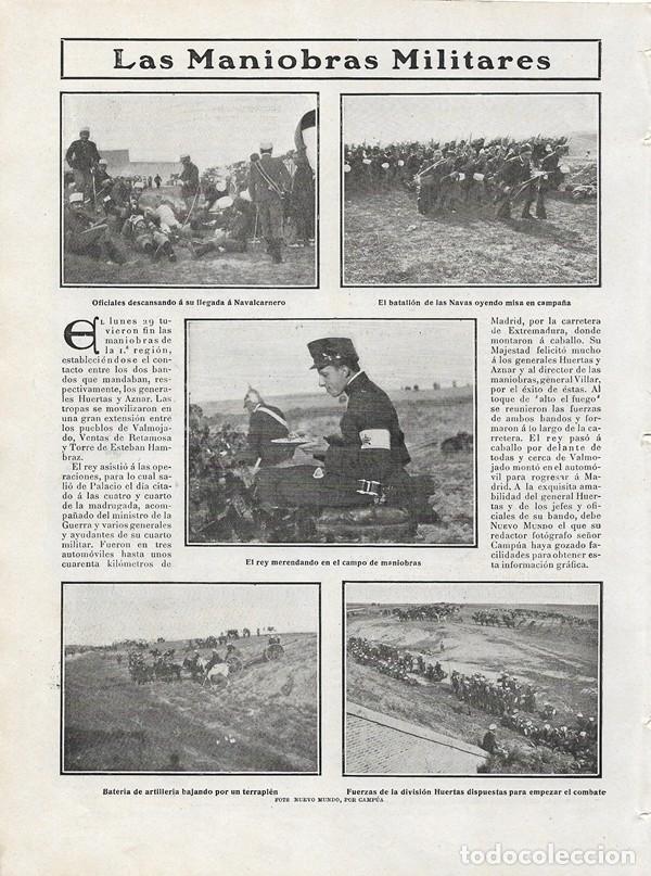 1906 HOJAS REVISTA MADRID NAVALCARNERO VALMOJADO VENTAS DE RETAMOSA MANIOBRAS MILITARES REY ALFONSO, usado segunda mano