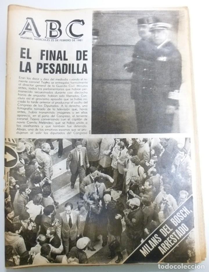LOTE DE PERIODICOS ABC FEBRERO DE 1981 ADOLFO SUAREZ CALVO SOTELO TEJERO MILANS DEL BOSCH ARMADA (Coleccionismo - Revistas y Periódicos Modernos (a partir de 1.940) - Otros)