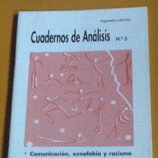 Coleccionismo de Revistas y Periódicos: CUADERNOS DE ANÁLISIS. NÚMERO 3. MOVIMIENTO CONTRA LA INTOLERANCIA. Lote 123099591
