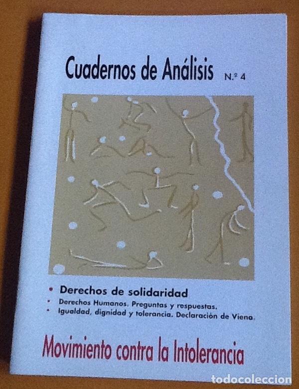 CUADERNOS DE ANÁLISIS. NÚMERO 4. MOVIMIENTO CONTRA LA INTOLERANCIA (Coleccionismo - Revistas y Periódicos Modernos (a partir de 1.940) - Otros)