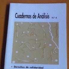 Coleccionismo de Revistas y Periódicos: CUADERNOS DE ANÁLISIS. NÚMERO 4. MOVIMIENTO CONTRA LA INTOLERANCIA. Lote 123099707