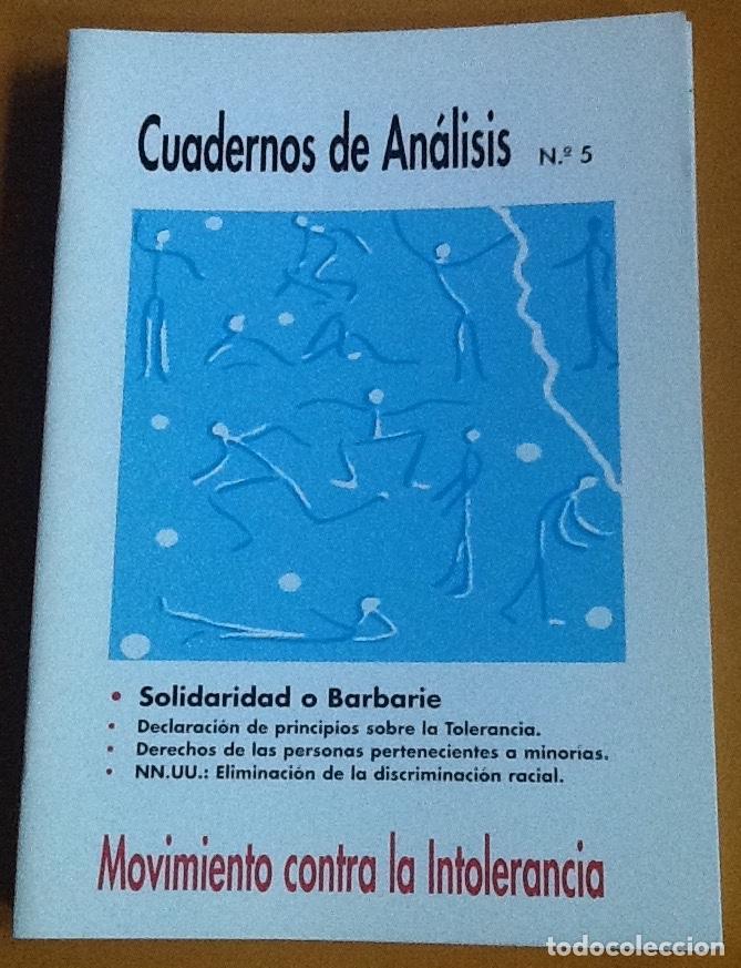CUADERNOS DE ANÁLISIS. NÚMERO 5. MOVIMIENTO CONTRA LA INTOLERANCIA (Coleccionismo - Revistas y Periódicos Modernos (a partir de 1.940) - Otros)