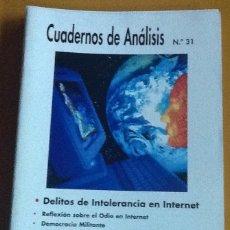 Coleccionismo de Revistas y Periódicos: CUADERNOS DE ANÁLISIS. NÚMERO 31. MOVIMIENTO CONTRA LA INTOLERANCIA. Lote 123100043