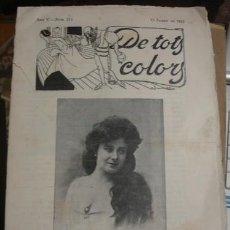 Coleccionismo de Revistas y Periódicos: DE TOTS COLORS AÑO V Nº211 19 JANER DE 1912 - PORTAL DEL COL·LECCIONISTA *****. Lote 123353599