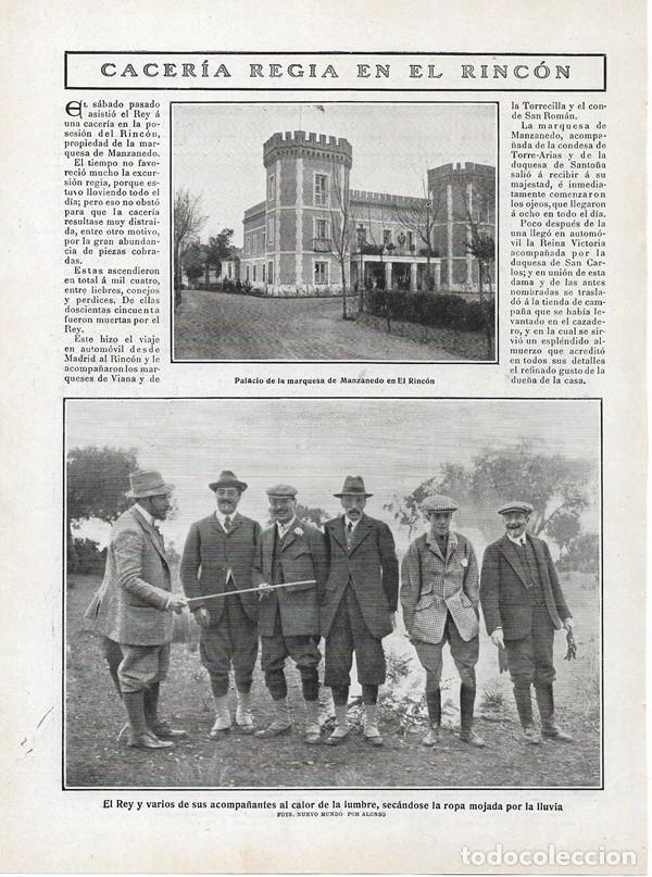 1908 HOJA REVISTA MADRID ALDEA DEL FRESNO CACERÍA FINCA EL RINCÓN PALACIO MARQUESA DE MANZANEDO REY (Coleccionismo - Revistas y Periódicos Antiguos (hasta 1.939))