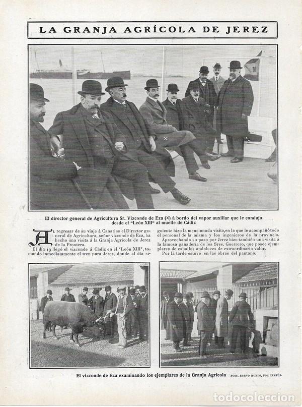 1908 HOJA REVISTA CÁDIZ JEREZ DE LA FRONTERA GRANJA AGRÍCOLA VIZCONDE DE EZA DTOR. GRAL. AGRICULTURA (Coleccionismo - Revistas y Periódicos Antiguos (hasta 1.939))