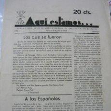 Coleccionismo de Revistas y Periódicos: ¡AQUÍ ESTAMOS! Nº 3 (8-AGOSTO-1936) PERIÓDICO DE FALANGE DE BALEARES AL INICIO DE LA GUERRA CIVIL. Lote 123553371