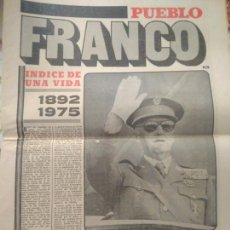 Coleccionismo de Revistas y Periódicos: PERIODICO PUEBLO FRANCO INDICE DE UNA VIDA1892-1975.VER FOTOS. Lote 124843430