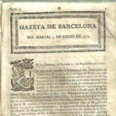 Coleccionismo de Revistas y Periódicos: 3636.- PRENSA-PERIODICOS-GAZETA DE BARCELONA AÑO 1773-. Lote 124879619