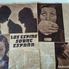 Coleccionismo de Revistas y Periódicos: REPORTAJE PRENSA ORIGINAL AÑOS 30. LOS ESPIAS SOBRE ESPAÑA. Lote 125036879