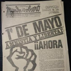 Coleccionismo de Revistas y Periódicos: MUNDO OBRERO ABRIL 1976 PRIMERO DE MAYO AMNISTÍA Y LIBERTAD PERIÓDICO CLANDESTINO ÉPOCA FRANCO. Lote 126396803