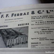 Coleccionismo de Revistas y Periódicos: F.F. FERRAZ&CIA, LDA. MADEIRA WINE ASSOCIATION LDA. PUBLICIDAD AÑOS 30. EN INGLES . Lote 126716879