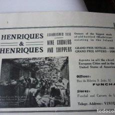 Coleccionismo de Revistas y Periódicos: HENRIQUES&HENRIQUES. WINE CROWERS AND SHIPPERS. PUBLICIDAD AÑOS 30. EN INGLES . Lote 126717071