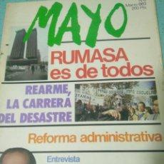 Coleccionismo de Revistas y Periódicos: REVISTA MAYO,MARZO 1983 N 6,RUMASA ES DE TODOS.FERNANDO MORAN. Lote 127007094