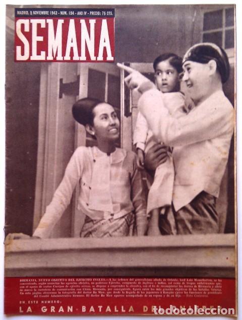 SEMANA, N.º 194. 9 DE NOVIEMBRE DE 1943 (Coleccionismo - Revistas y Periódicos Modernos (a partir de 1.940) - Otros)