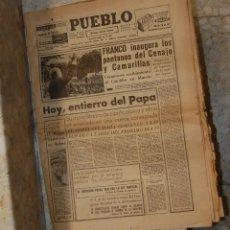 Coleccionismo de Revistas y Periódicos: PERIODICO PUEBLO INAUGURACIÓN PANTANO FRANCO AÑO 1963. Lote 127311291
