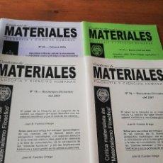 Coleccionismo de Revistas y Periódicos: LOTE DE 4 REVISTAS CUADERNOS DE MATERIALES. Lote 127742051